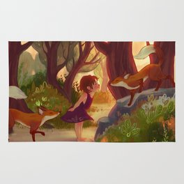 Meeting foxes in the forest Rug