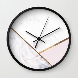 Marble Swirl Blush Pink & Bronze Wall Clock