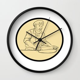 Medieval Baker Rolling Pin Oval Drawing Wall Clock