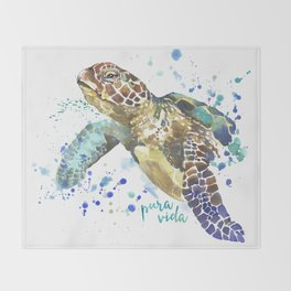 Sea Turtle Pura Vida Watercolor Throw Blanket