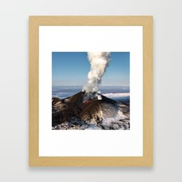 Eruption volcano - effusion from crater lava, gas, steam, ash Framed Art Print