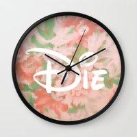 die hard Wall Clocks featuring die by Sara Eshak