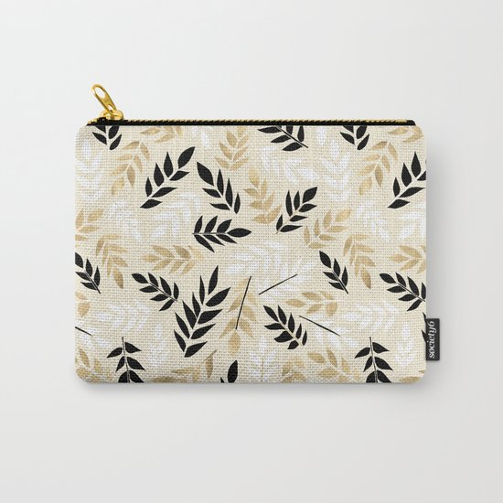 Black, White & Gold Fronds Carry-All Pouch