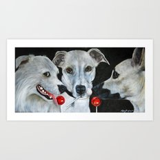 White Dogs and Tootsie Pops Art Print