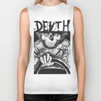 death Biker Tanks featuring DEATH  by TARTWURK