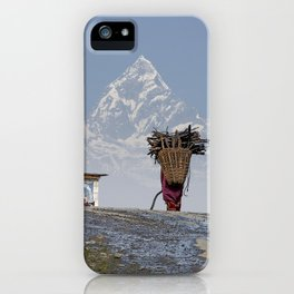 WOOD CARRIER AND MACHAPUCHARE IN NEPAL iPhone Case