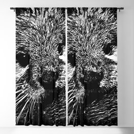 furry fish otter splatter watercolor black white Blackout Curtain