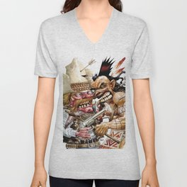 cowboy and native american Unisex V-Neck