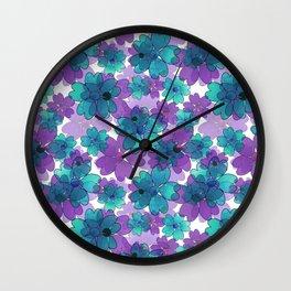 Purple blue floral pattern. Wall Clock