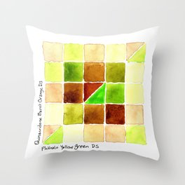 Color Chart - Quinacridone Burnt Orange DS and Phthalo Yellow Green DS Throw Pillow