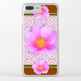Coffee Brown Shasta Daisy Pink Roses Abstract Art Clear iPhone Case