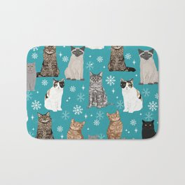 Cat breeds snowflakes winter cuddles with kittens cat lover essential cat gifts Bath Mat