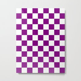 Checkered - White and Purple Violet Metal Print