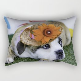English Bulldog Puppy Wearing a Straw Hat with Bright Orange Flower for Spring Rectangular Pillow