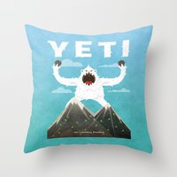 yeti Throw Pillows featuring Yeti by Artificial primate