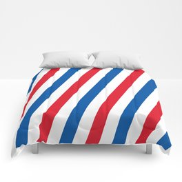 Blue, white and red stripes pattern Comforters