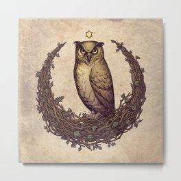 Owl Hedera Moon Metal Print