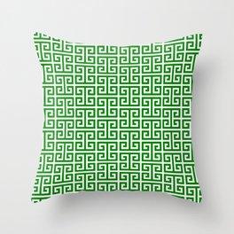 Green and White Greek Key Pattern Throw Pillow