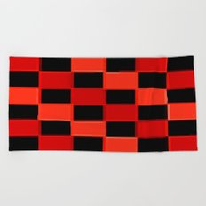 Red & Black Checkers : CheckerBoarD Beach Towel