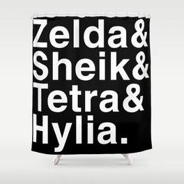 Zelda & Sheik & Tetra & Hylia helvetica list Shower Curtain