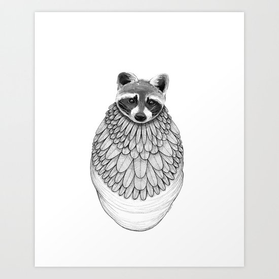 Raccoon- Feathered Art Print