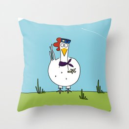 Eglantine la poule (the hen) dressed up as an air hostess Throw Pillow