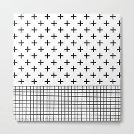 Crosses, Criss Cross, Black and White Modern Metal Print