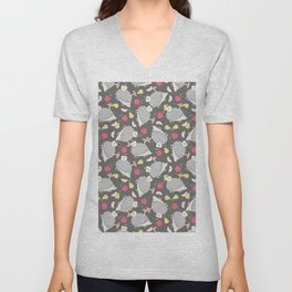 Vintage cute gray pink hedgehog fruity winter pattern Unisex V-Neck