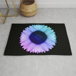 Iridescent Geometric Sunflower Decor \\ Symmetrical Flowers Pink Purple Blue Nature Bohemian Style Rug