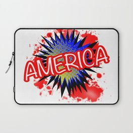 America Red White And Blue Cartoon Exclamation Laptop Sleeve