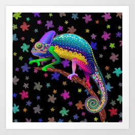 Chameleon Fantasy Rainbow Colors Art Print