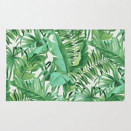 Green tropical leaves III Rug