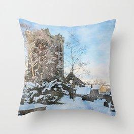 snowy winter churchyard Throw Pillow