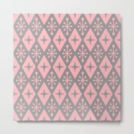 Mid Century Modern Atomic Triangle Pattern 710 Pink and Gray Metal Print