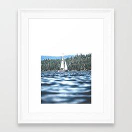 Calm Lake Sailboat Framed Art Print