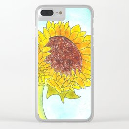 Watercolor Cute Yellow Sunflower Clear iPhone Case