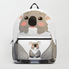 Lovely koala bear sitting and looking up. Backpack