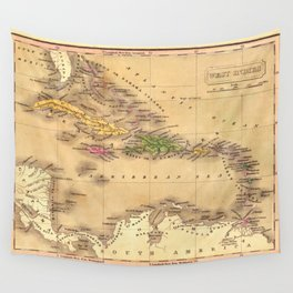 Map Of The Caribbean 1828 Wall Tapestry