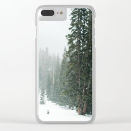 Snow Covered Forest Clear iPhone Case
