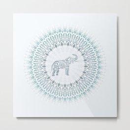 Aqua Mandala Elephant Metal Print