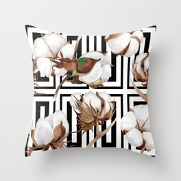 Cotton Flower Pattern 07 Throw Pillow