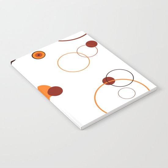 Orange retro style circles on white background Notebook