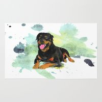 rottweiler Area & Throw Rugs featuring Rottweiler happy by Cami Landia