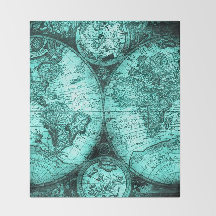 Vintage Turquoise Green Map Design Throw Blanket