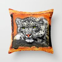 snow leopard Throw Pillows featuring Snow Leopard by SwanniePhotoArt