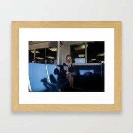 The Ferry, Blue Seats Framed Art Print