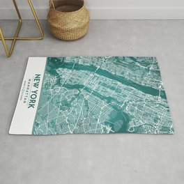 Turquoise Teal Wall Art Showing Manhattan New York City, Brooklyn and New Jersey Rug