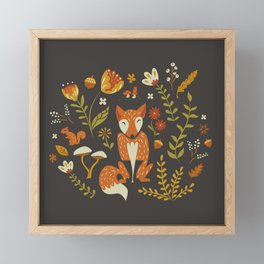 Fox in an Autumn Garden Framed Mini Art Print