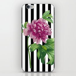 Pink Peony Black Stripes Chic iPhone Skin