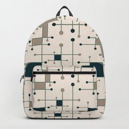 Intersecting Lines in Dark Teal, Tan and Navy Backpack